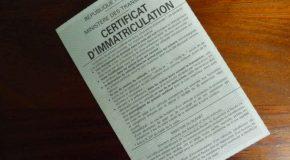 Certificat d'immatriculation de véhicule.